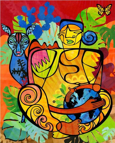 Abstract art: Dolores, a Warrior for All Living Beings, 2018 by Favianna Rodríguez. Colorful image with human and animal representation.