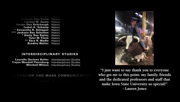 screen shot of scrolling graduate names and photo of student with quote thanking family and ISU faculty and staff